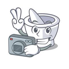 Photographer mortar mascot cartoon style