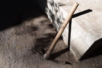 mattock lies on the construction site close-up