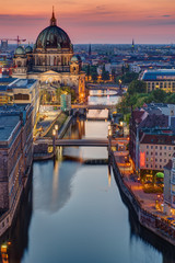 Photo sur Aluminium Berlin The Spree river in Berlin with the cathedral at sunset