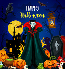 Happy Halloween greeting card with vampire monster
