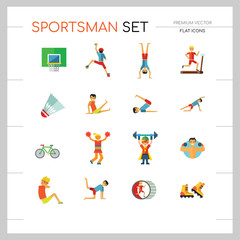 Sportsman vector icons set. Thirteen icons of running man, rock climber, bodybuilder and other sportsmen