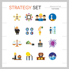 Strategy Icon Set. Team Structure Common Idea Director Executive Manager Rich Person Team Time Management Challenge Boss Scales Strategic Management Vision Team Leader