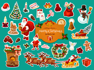 Christmas and New Year winter holiday sticker