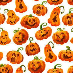 Halloween pumpkin monster lantern seamless pattern