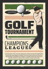 Golf champion league tournament retro poster