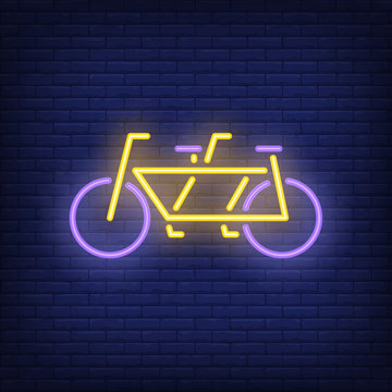 Tandem bicycle neon sign. Bicycling, fitness and sport concept. Advertisement design. Night bright colorful billboard, light banner. Vector illustration in neon style.