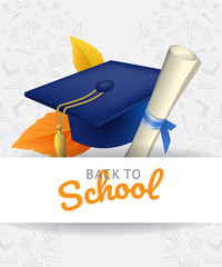 Back to school lettering with graduation cap and doodles. Offer or sale advertising design. Handwritten and typed text, calligraphy. For leaflets, brochures, invitations, posters or banners.