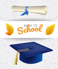 Back to school lettering with graduation cap, scroll and doodles. Offer or sale advertising design. Handwritten and typed text, calligraphy. For leaflets, brochures, invitations, posters or banners.