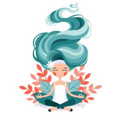 A meditative girl. Illustration. Self-development. Yoga. Lotus Pose