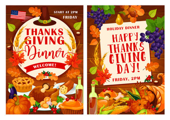 Vector Thanksgiving Day invitation posters