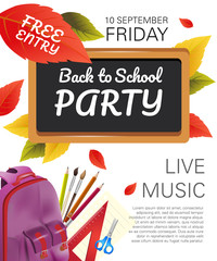 Back to school party flyer design with violet backpack, fall foliage and school supplies. Text can be used for leaflets, brochures, banners, posters