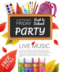 Back to school, free entry party flyer design with books, fall foliage and school supplies. Text can be used for leaflets, brochures, banners, posters
