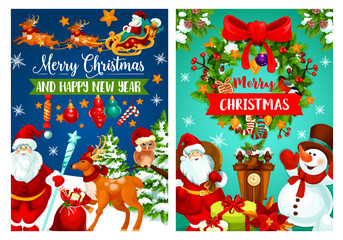 Christmas holiday banner with Santa and snowman