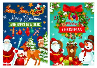 Christmas holiday banner with Santa and snowman