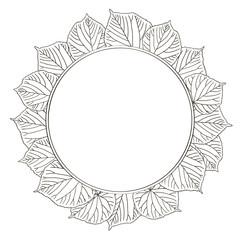 vector contour linden leaf wreath circle frame border coloring book
