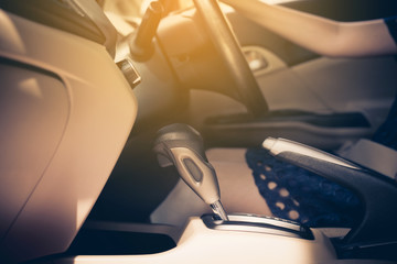 Automatic gear shift system in new modern car,Cropped image