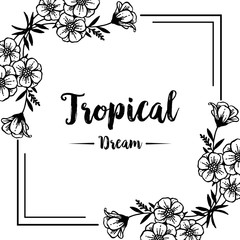 Card of tropical with flower design hand draw vector illustration