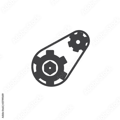 Gears With Belt Vector Icon Filled Flat Sign For Mobile Concept And