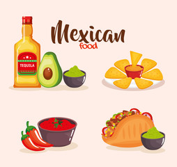 delicious mexican food icons