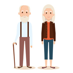 cute grandparents couple characters