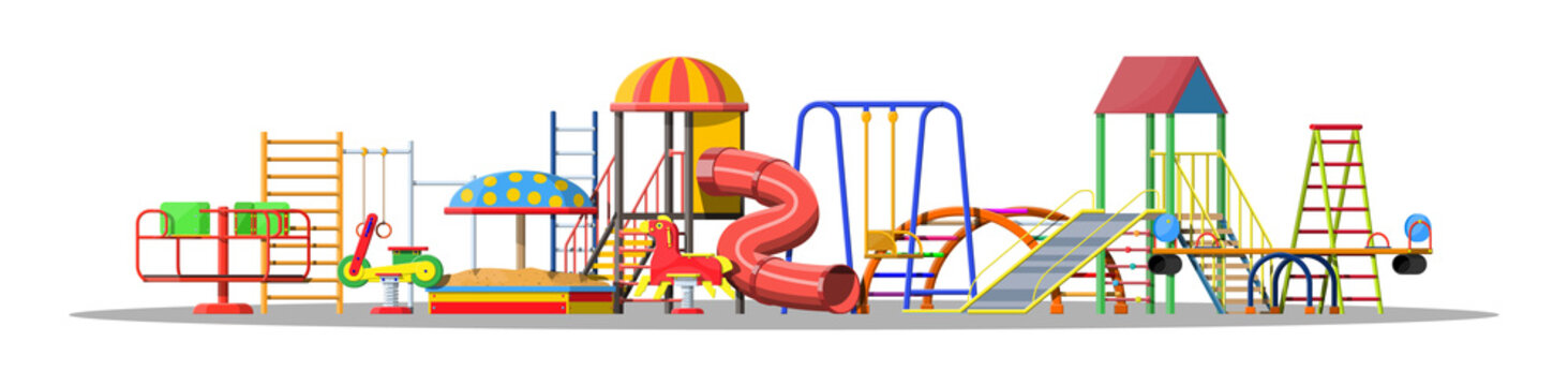 Kids playground kindergarten set. Urban child amusement. Slide ladder, rocking toy on spring, slide tube, swing, carousel, balancer, sandbox, bucket rake ball scoop. Vector illustration flat style