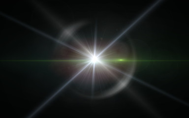 Digit lens flare with bright light in black background used for texture and material.Lens flare or Star flare in black background.Modern nature flare effect