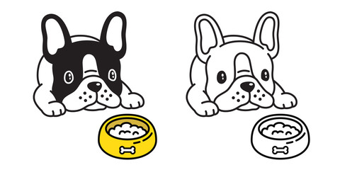 dog vector french bulldog icon cartoon logo food bowl character illustration symbol doodle
