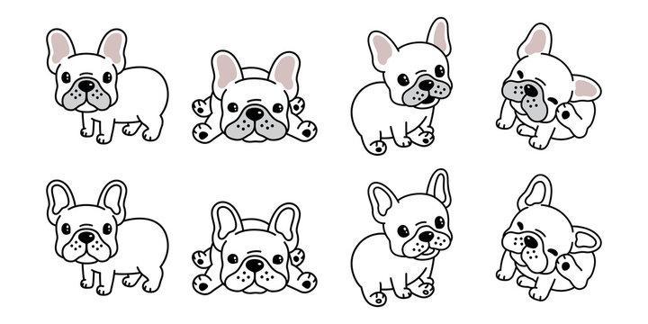 dog vector french bulldog logo icon cartoon character illustration symbol white