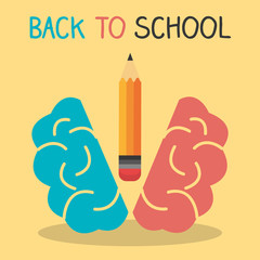 back to school label with brain storming