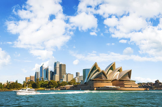 The city skyline of Sydney, Australia. Circular Quay