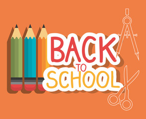 back to school label with colors pencils