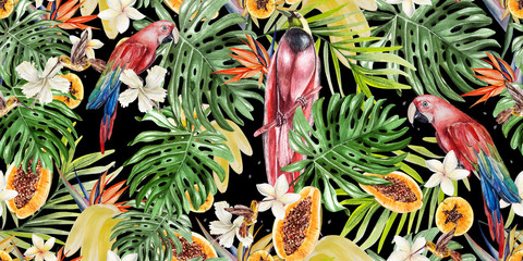 Beautiful watercolor tropical pattern with parrots and flowers of hibiscus and strelitzia. Tropical fruits papaya and bananas.
