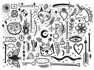 Sketch graphic illustration with mystic and occult hand drawn symbols big set. Vector holiday illustration for Day of the dead or Halloween. Astrological and esoteric concept. Old Fashion Tattoos.