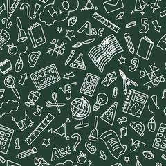 Chalkboard Back to School Doodle Seamless Pattern. Blue Ballpen Drawing on Red Line Paper