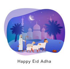 Happy Eid Adha Islamic Sacrifice Festival, Greeting Card Illustration
