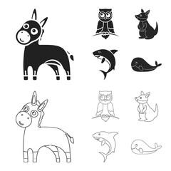 Donkey, owl, kangaroo, shark.Animal set collection icons in black,outline style vector symbol stock illustration web.