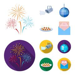 A video camera with smoke, a twirling holiday ball, a plate of sandwiches, an envelope with a greeting card. Event services set collection icons in cartoon,flat style vector symbol stock illustration