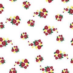 Seamless folk pattern with small cute flowers on on white background. Shabby chic. Country Millefleurs liberty style. Rich floral texture.