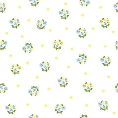 Seamless floral pattern with small-scale flowers on white background. Shabby chic. Country Millefleurs liberty style. light floral texture for for clothes, interior, tiles, print, textiles, packaging.
