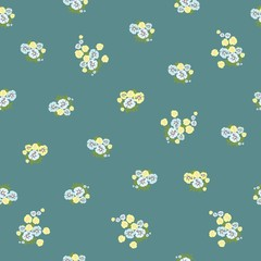 Seamless floral pattern with small-scale flowers. Shabby chic. Country Millefleurs liberty style. light floral texture for for clothes, interior, tiles, print, textiles, packaging.