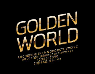 Vector Glossy Sign Golden World. Chic Rotated Alphabet Letters, Numbers and Symbols