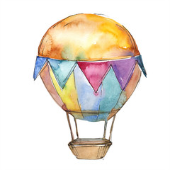 Hot air balloon background fly air transport illustration. Isolated illustration element.