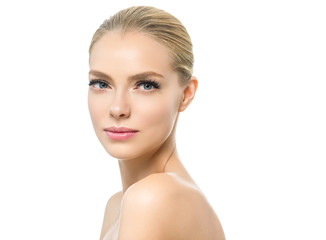 Beautiful blonde woman with healthy skin and fresh natural makeup isolated on white