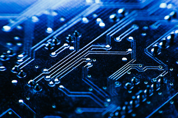 computer board blue color close-up