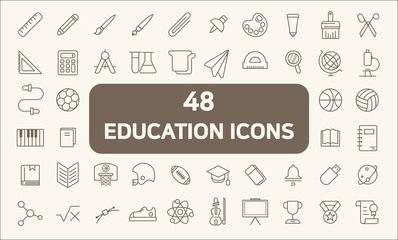 Education Line Icons set