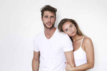 Good looking couple in white, portrait