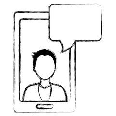 man with smartphone and speech bubble