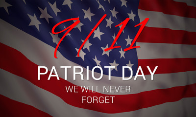Vector banner design template with american flag and text on dark blue background for Patriot Day. National Day of Prayer and Remembrance for the Victims of the Terrorist Attacks on 09.11.2001.