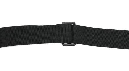 Black synthetic nylon fastening belt, strap isolated on white background, top view