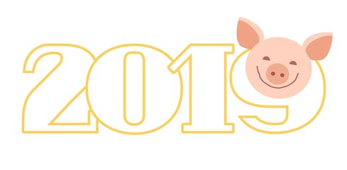 Postcard 2019, pig, white, contour, vector. Congratulations on the coming New year. Year of pig. Color flat card. Outline figures 2019. The pig is smiling.